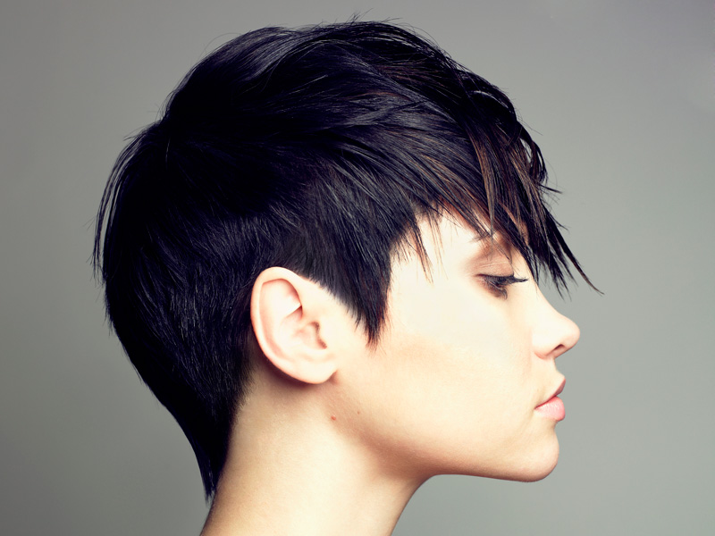 Haircut and blow dry trendy pixie cut